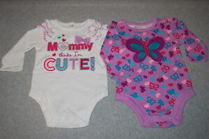 6aca62b31d12 Baby Girls 2 LOT L S SHIRT Purple Butterfly MOMMY THINKS IM CUTE ...