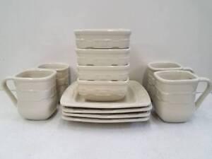 Image is loading Longaberger-12-Piece-Dinnerware-Set-Pottery-Dishes-Ivory- & Longaberger 12 Piece Dinnerware Set Pottery Dishes Ivory Soft Square ...