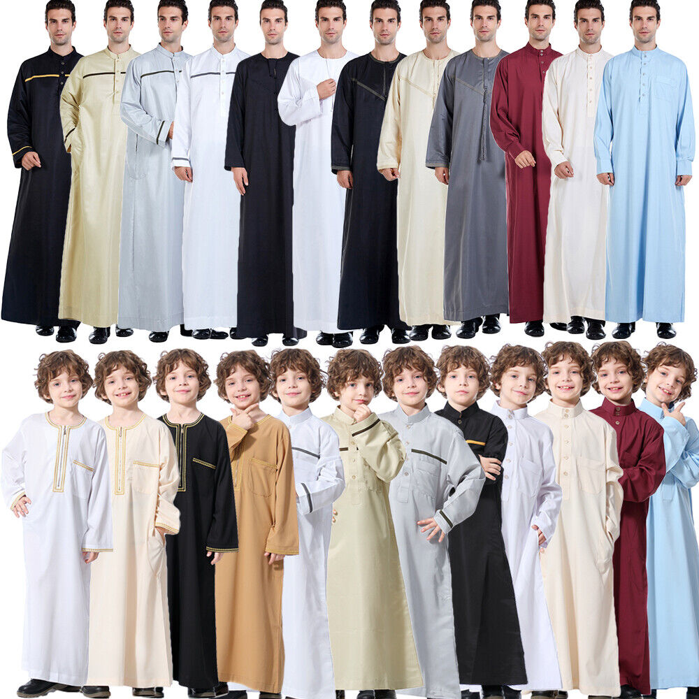 Mens&Boy Abaya Saudi Thobe Robe Islamic Muslim Jubba Dress Arabic Long Kaftan