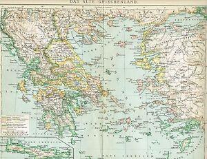 Karte Griechenland.Details Zu Karte Das Antike Griechenland Kreta 1894 Original Graphik