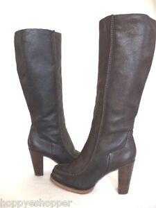DEVANI-Knee-High-Boots-Heels-Women-8-5-Dark-Chocolate-Leather-Designer-Luxurious