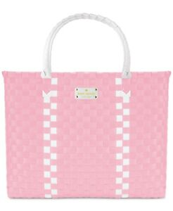 Kate-Spade-Woven-Vinyl-Pink-amp-White-Large-Tote-Shopping-Beach-Bag-NEW