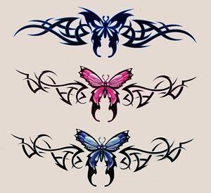 3 butterfly tattoo style tramp stamp vinyl r c tablet stickers bike decals ebay. Black Bedroom Furniture Sets. Home Design Ideas