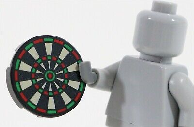 Minifigure Toy Game NEW Lego Minifig DART BOARD 2x2 Round Black Printed Tile