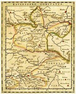 Karte Ravensberg 1645 Ostinghausen Rehme Salzkotten Sassenberg