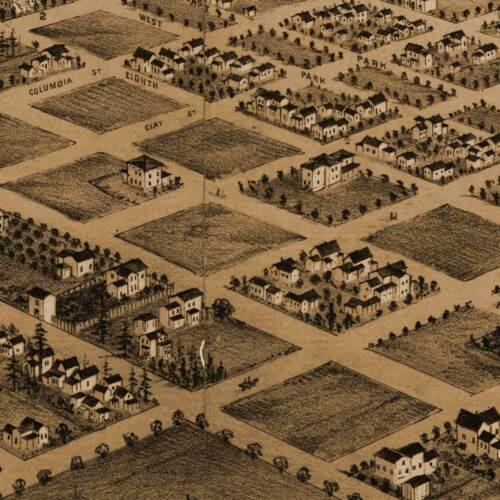 "Birds Eye View in 1879-24/"" x 40/"" HUGE City Map of PORTLAND Oregon"