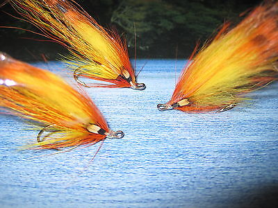 2 V Fly Size 9 Ultimate Tiger Tail Flamethrower Double Salmon Flies