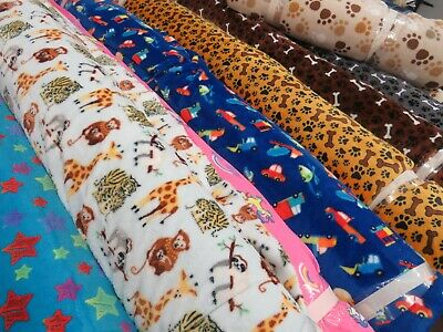 BLUE Llama SUPER SOFT Printed Cuddle Fleece Fabric Baby Blankets Craft R1051