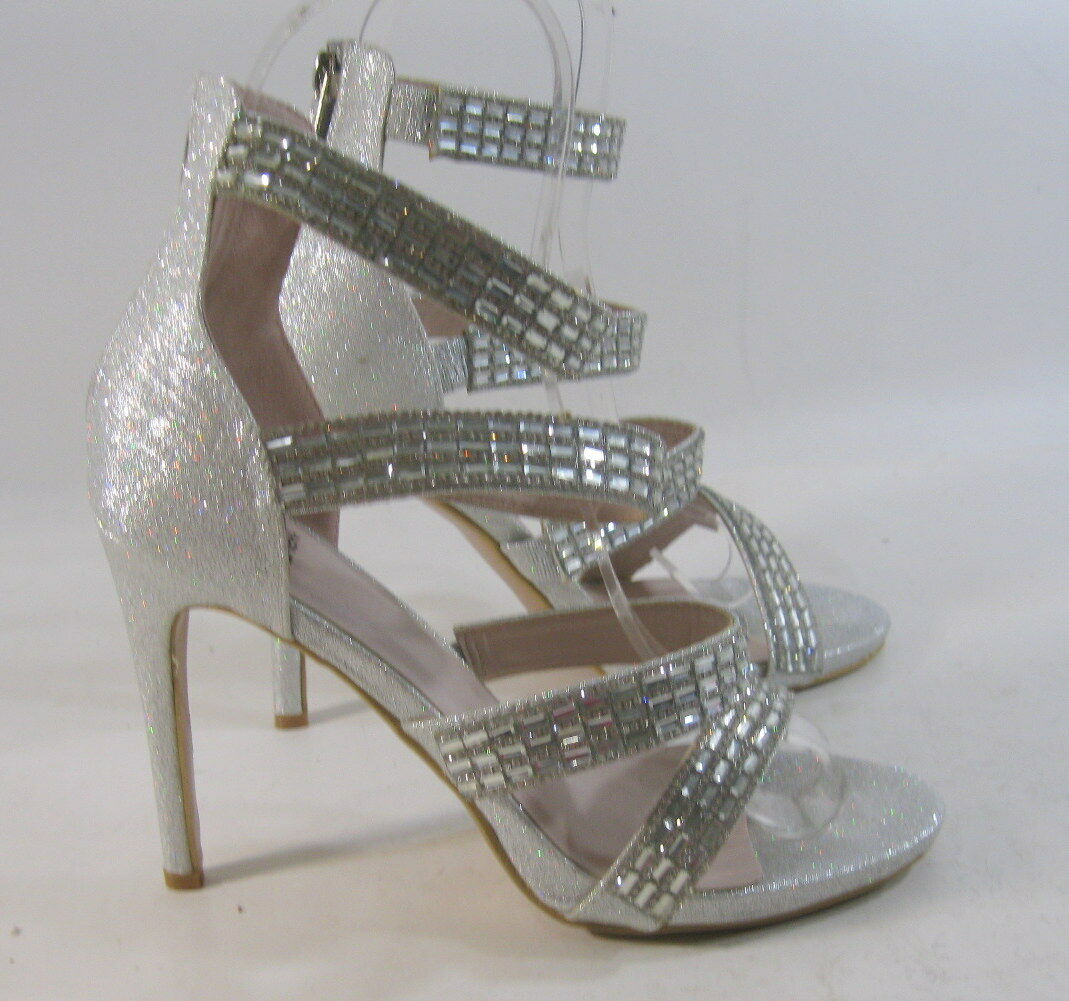 "Silver Stones 4.5"" High Stiletto Heel Open Toe Straps Sexy Shoes Size 9"