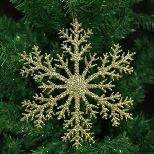 glitter large gold red snowflake christmas tree hanging