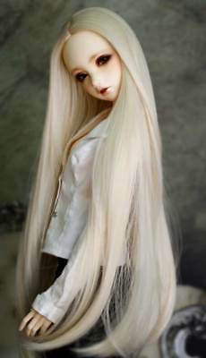 """1//3 8-9/"""" BJD Doll Wig Snow White Straight Buckle Curl Tips Hair Long Z"""