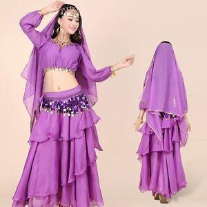 Belly-Dance-Costume-Set-Long-Sleeves-Top-Hip-Scarf-Head-Veil-Big-amp-Large-Skirt