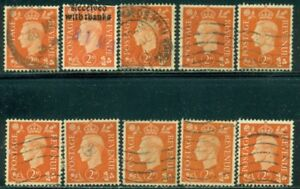 GREAT BRITAIN SG-465, SCOTT # 238, USED, 10 STAMPS, GREAT PRICE!