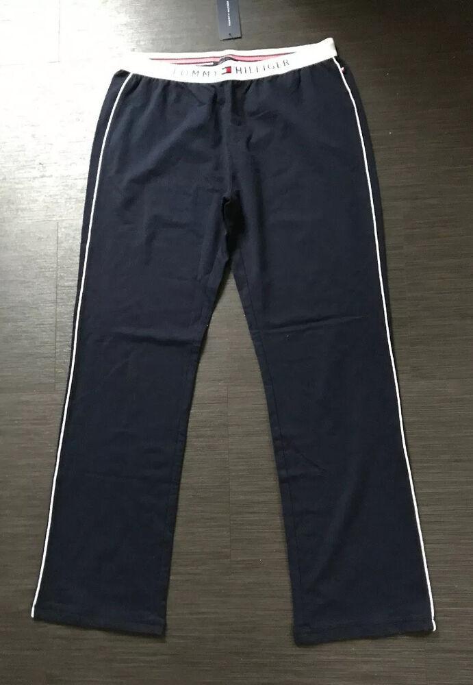 Tommy Hilfiger Logo Bleu Marine Coton De Détente Pantalon Taille M Neuf Avec Étiquettes 49.50 $