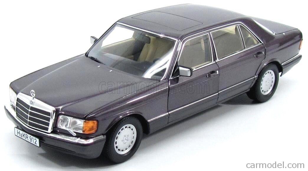 1 18 Mercedes 560 SEL lila Metallic W126 S -klass Norev tärningskast Förlaga 183544