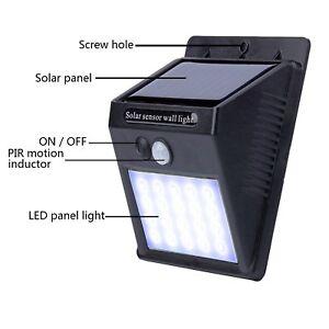 LUCE-LED-LAMPADINA-PANNELLO-SOLARE-PIR-SENSORE-DI-MOVIMENTO-PER-ESTERNO-20-LED