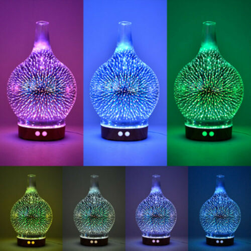 3D Fireworks Glass Vase Air Humidifier Night Light Aroma Essential Oil Diffuser