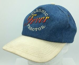 Vtg Classic Tractor Fever K Products Made in USA Embroidered Denim Snapback Hat