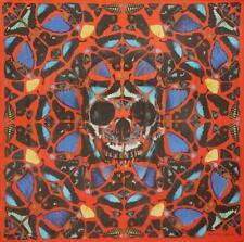 Nueva marca Alexander McQueen/Damien Hirst Rojo Salmo Cráneo Mariposa Seda Bufanda