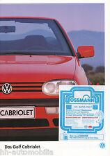 VW Golf Cabriolet Prospekt 1995 1 95 brochure Autoprospekt Auto PKWs Deutschland