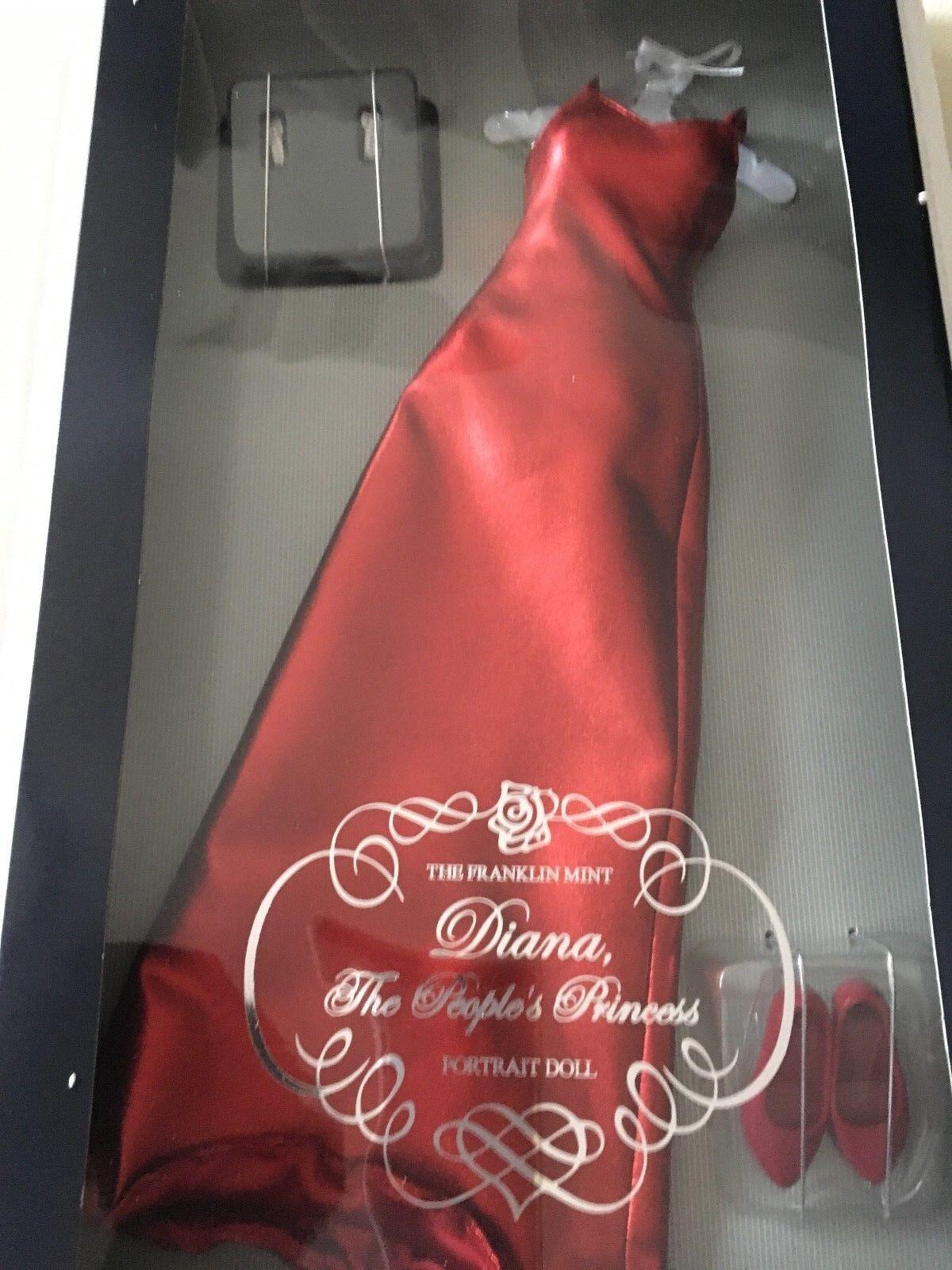 Franklin Mint Princesa Diana Rojo Lame Vestido Vestido Conjunto De Muñeca Nuevo Sellado Con Certificado De Autenticidad.