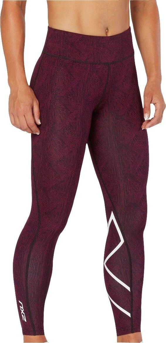 2XU Mid-Rise Print Womens Long Compression Tights - Pink