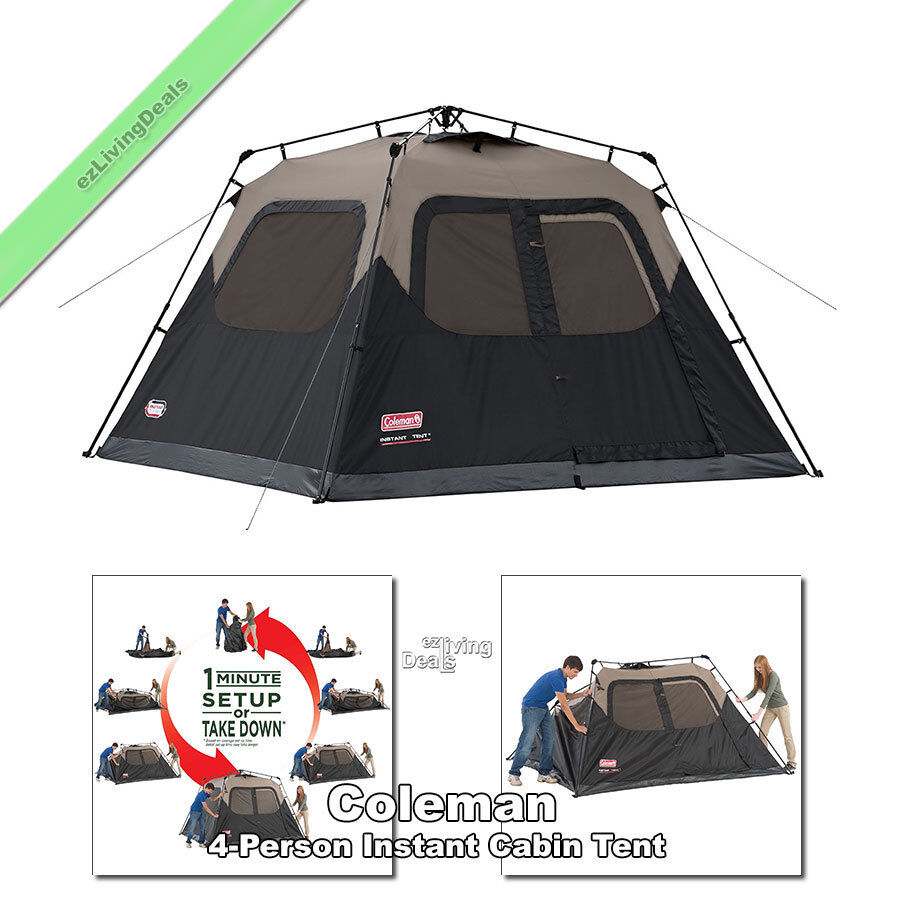 Coleman Instant Tent 4 Person 8' x 7' Outdoor Family Camping Dome Cabin Tents