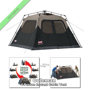 Image is loading Coleman-Instant-Cabin-Tent-4-Person-8-039-  sc 1 st  eBay & Coleman Instant Cabin Tent 4 Person 8u0027 x 7u0027 Outdoor Family Camping ...