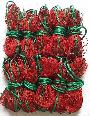 4FT BRIGHT RED 10 X 6z SPUN NYLON FERRETING PURSE NETS ON WELDED RINGS  RABBITS