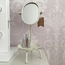Shabby Chic Dressing Table Swivel Mirror Rustic Vintage Make Up jewellery dish
