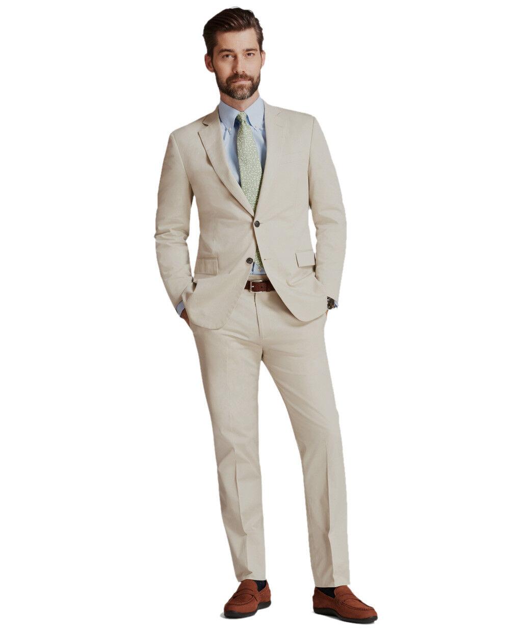 Brooks Bredhers Mens Khaki Beige 346 Cotton Blend Two Button Suit 37S 31W 0775-1