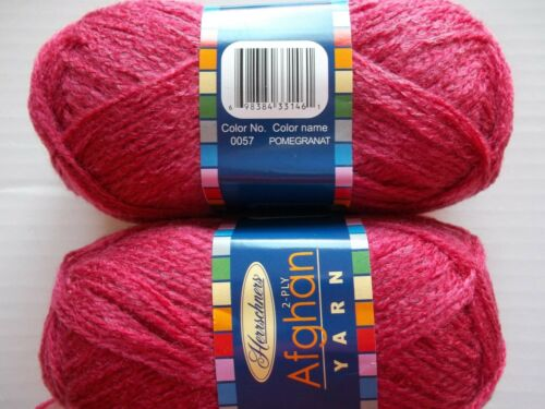 220 yds each Pomegranat Herrschners Afghan Yarn 2-ply lot of 2