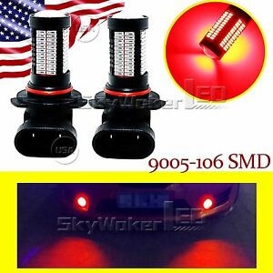 2pcs-Red-HB3-9005-LED-For-Car-Fog-Light-High-Power-Bulb-Lamp-106SMD-Truck-DRL