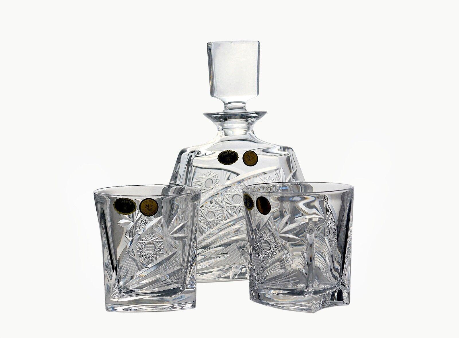 Ensemble pour Boisson Spiritueuse carafe +6 verres Bohemia bleikristall handgeschliffenes Décor