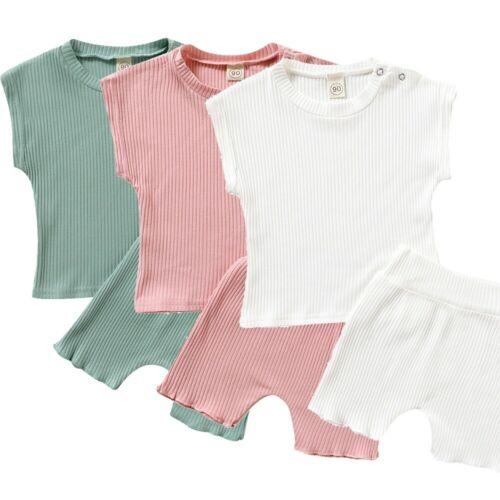Toddler Kids Baby Girls Boys Solid T shirt Tops Shorts Pants 2PCS Outfits Sets