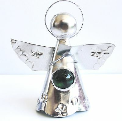 3 DIMENSIONAL  CHRISTMAS! Lot of 10 ten HAND MADE TIN  ANGELS W-JEWEL