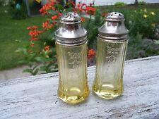 Vintage Amber MADRID DEPRESSION Salt and Pepper Shakers INDIANA GLASS  original