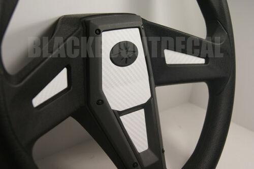 General Polaris RZR 1000 XP WHITE Carbon Fiber Steering Wheel Inlay Decal Kit