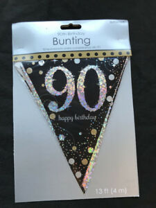 Image Is Loading 90th Birthday Pennant Flag Banner Black Silver Gold