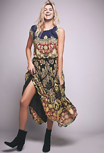 NEW Free People Across the Sands Midi Dress Fit & Flare Embroidered  300 Sz 4