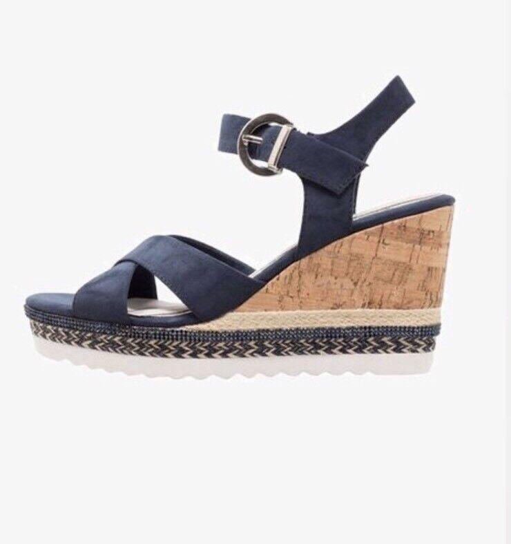 Marco Tozzi Wedged Heels Sandals Navy Blue Women Size Eu 37