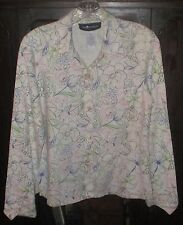 Sag Harbor Button Front Blouse~Size 8~Floral Pink Green Blue Brown~Casual Dress