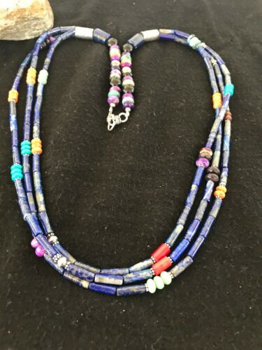 """Pueblo Sterling Silver Navajo Lapis Spiny Coral Turquoise Necklace Gift 8372 28"""""""