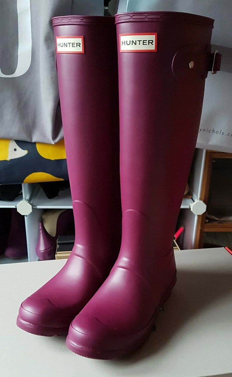 Hunter Wellies Original Tall Womens Womens Womens Purple purple Wellington Boots Size 4 BNIB bdca25