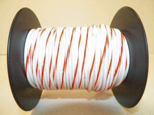 100 FOOT SPOOL 16 GAUGE GXL HI TEMP WIRE WHITE//ORANGE STRIPE AUTOMOTIVE   FEET