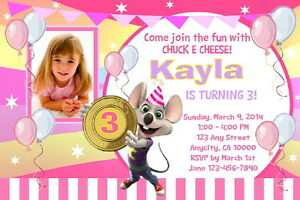image regarding Chuck E Cheese Printable Invitations known as Information relating to CHUCK E CHEESE Custom made PRINTABLE BIRTHDAY Bash INVITATION  No cost THANK On your own CARD