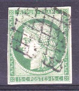FRANCE-STAMP-TIMBRE-N-2-034-CERES-15c-VERT-1850-034-OBLITERE-TB-SIGNE-A-VOIR-P306