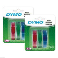 6pk (rolls) Dymo 3/8 (9mm) Labelmaker Embossing Tapes 3-colors (red Green Blue)
