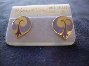 de3323a6d3d Vintage Samuel Huang Cloisonné Brinco Lavender   Roxo Esmalte Ouro ...