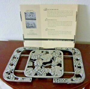 Fine-Lenox-silver-metal-expandable-trivet-grape-weave-serving-tray-new-in-box